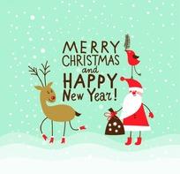 圣诞节新年快乐字体素材