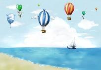 卡通海滩儿童画