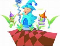 3D魔法师巫婆卡通插画
