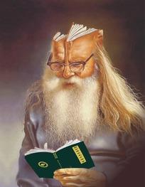 正在看书的抽象老人