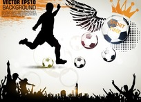 人物剪影足球世界杯海报设计