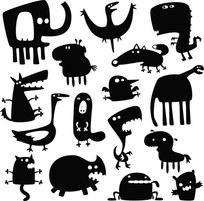 黑白动物剪影