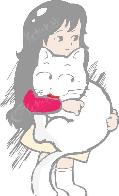抱着白猫的女孩卡通画矢量图