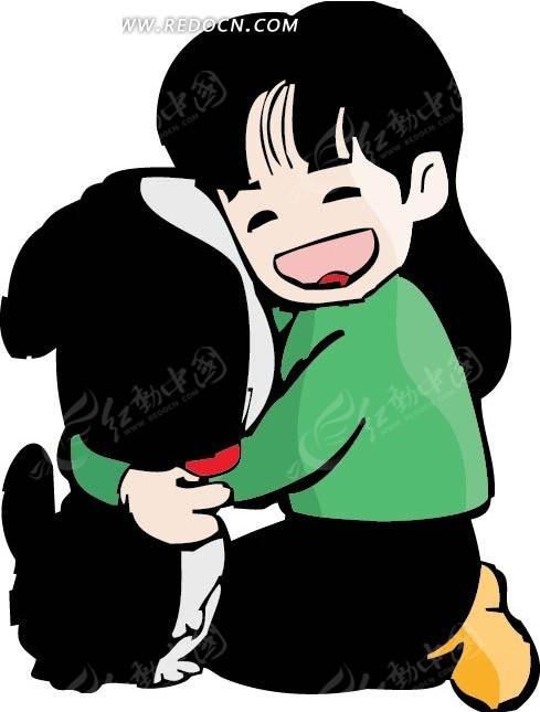 抱着狗微笑的女孩卡通画