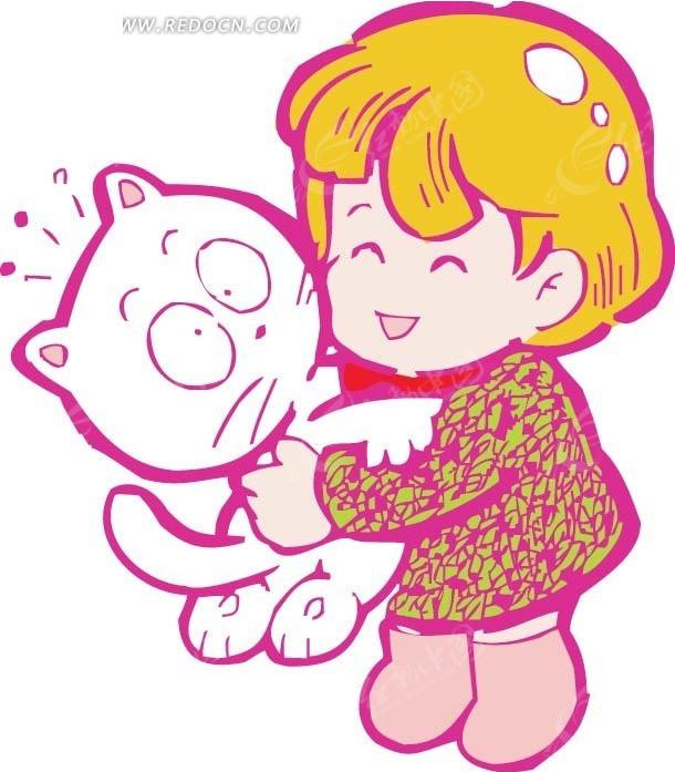 抱着猫微笑的女孩卡通画