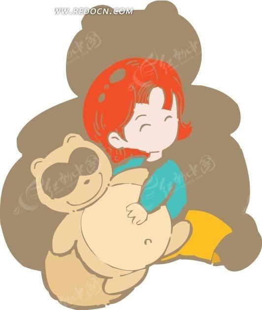 抱着玩具熊的女孩卡通画矢量图