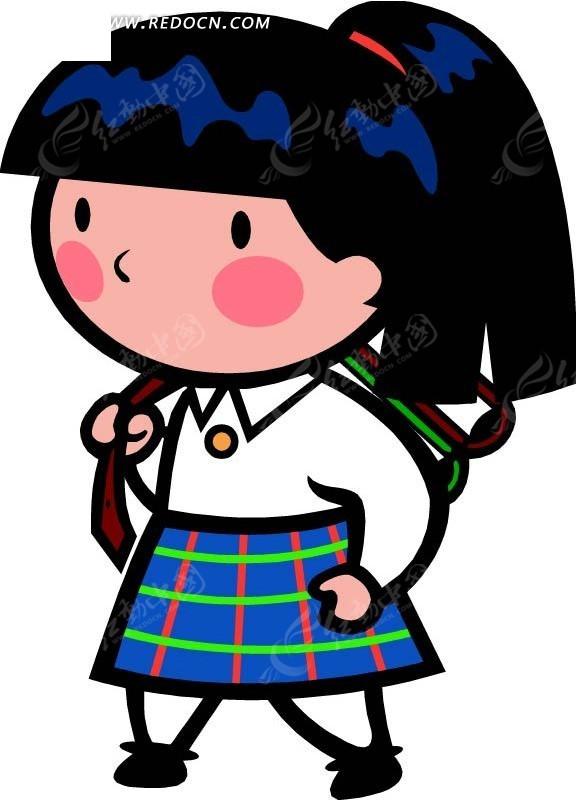 背书包的女孩卡通画