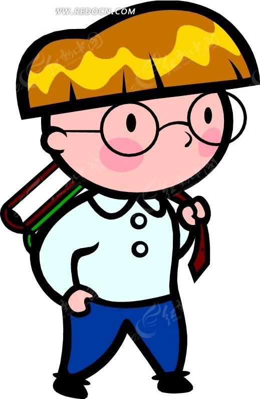 免费素材 矢量素材 矢量人物 卡通形象 背着书包的男孩卡通画  请您