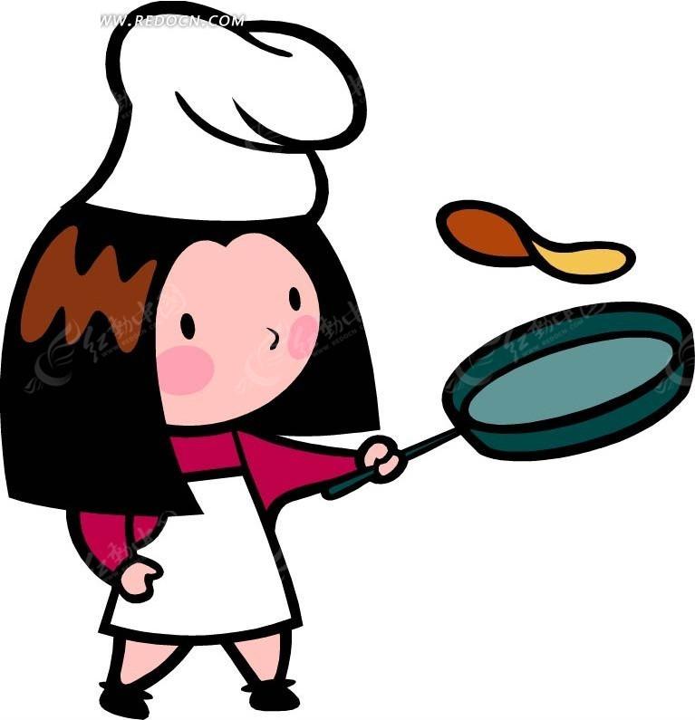 炒菜的女厨师卡通画