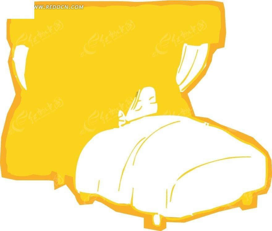 窗前睡觉的女孩卡通画