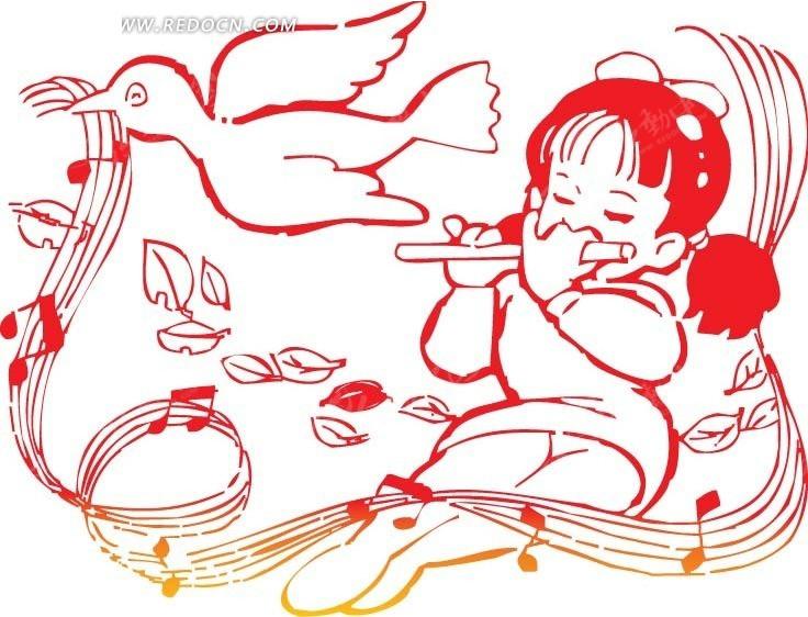 吹笛子的女孩卡通画