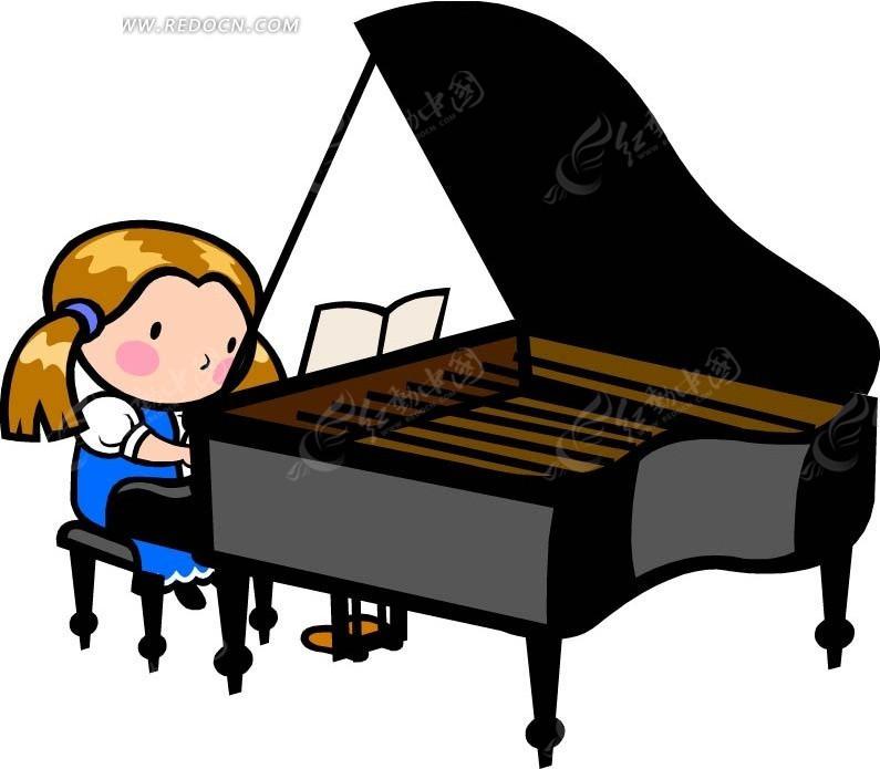 弹钢琴的女孩卡通画