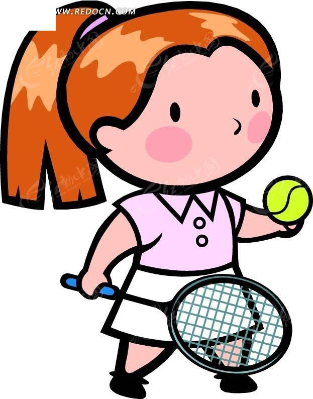 打网球的女孩卡通画