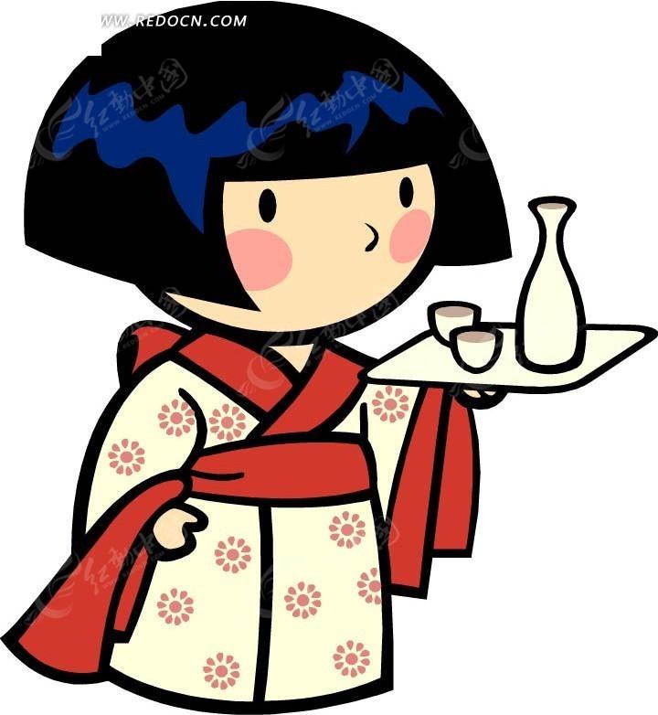 端酒的日本女孩卡通画