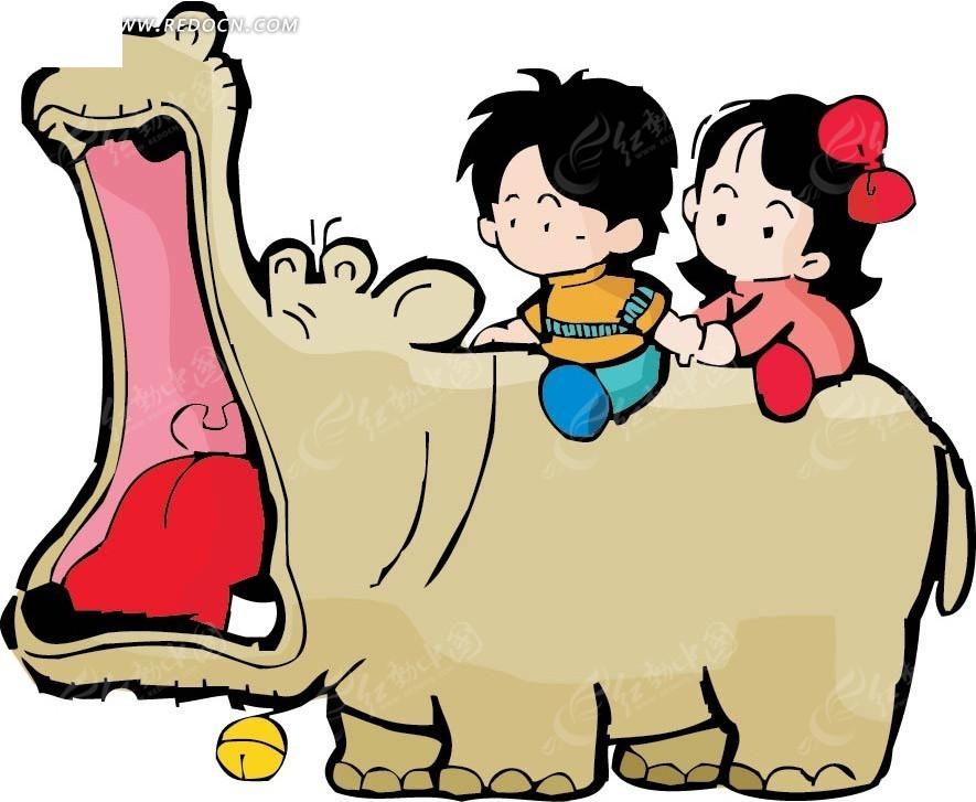 河马背上的儿童卡通画