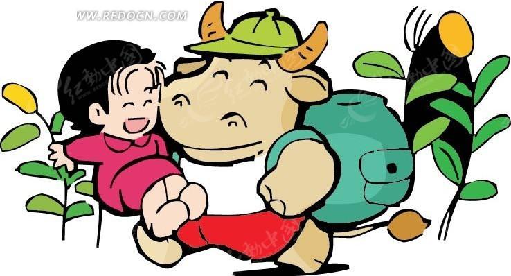 和女孩亲吻的牛卡通画ai素材免费下载_红动网图片