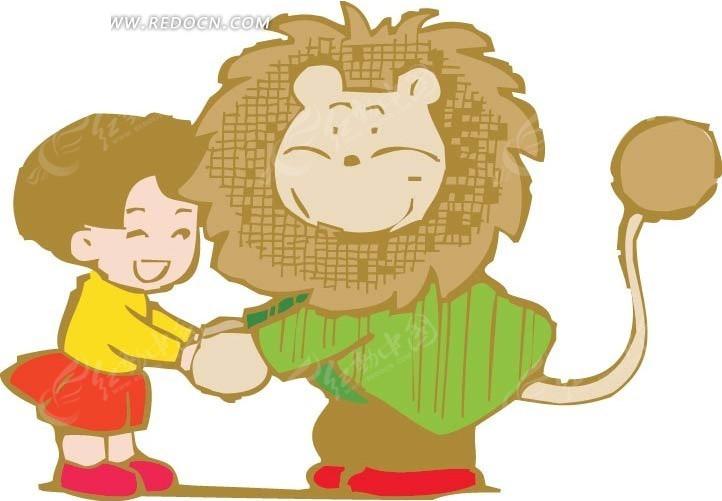 和狮子牵手的男孩卡通画
