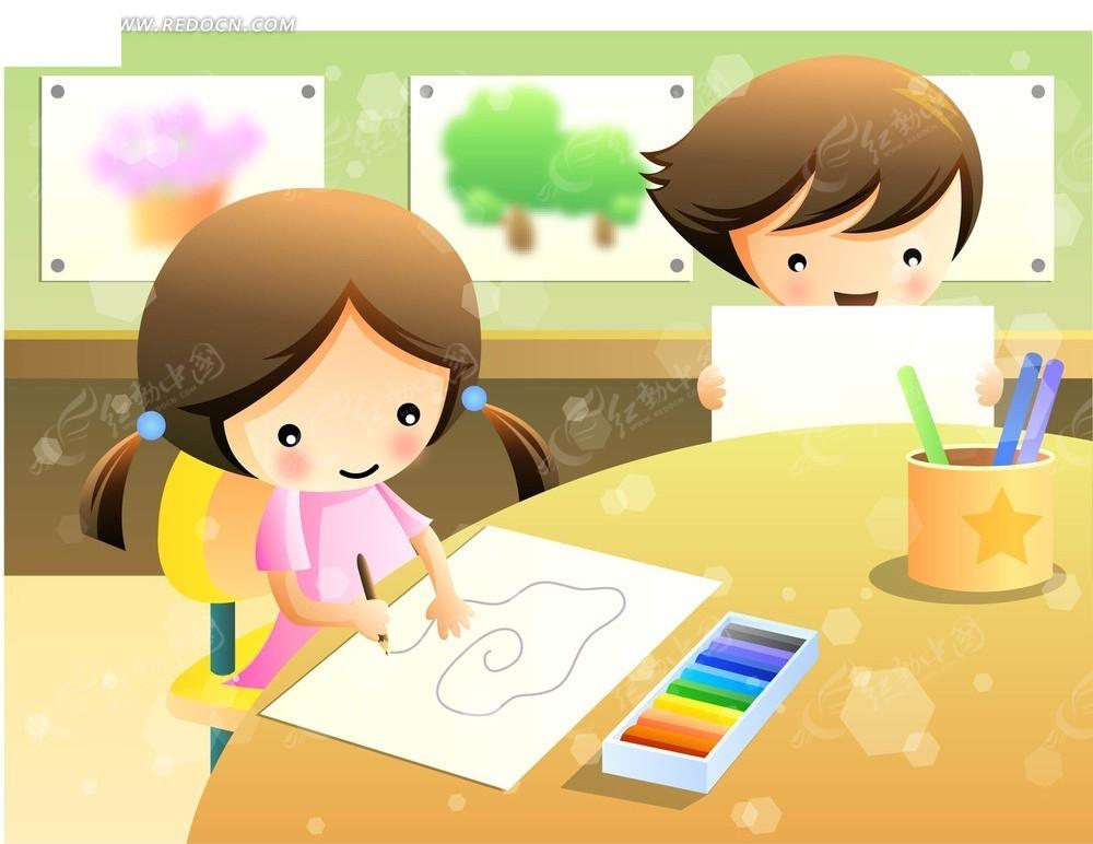 画画的儿童 男孩 女孩