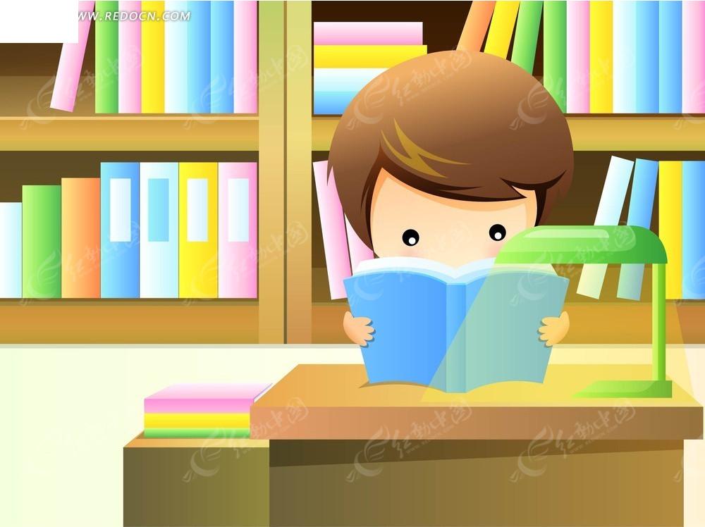 看书的男孩卡通画