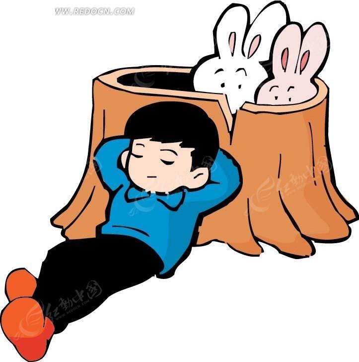 靠着树桩睡觉的男孩卡通画