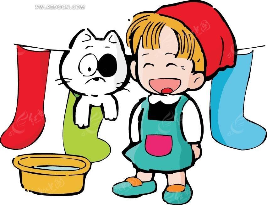 晾衣绳前的女孩和猫卡通画AI素材免费下载 编号2602391 红动网