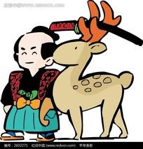 麋鹿和日本武士卡通画