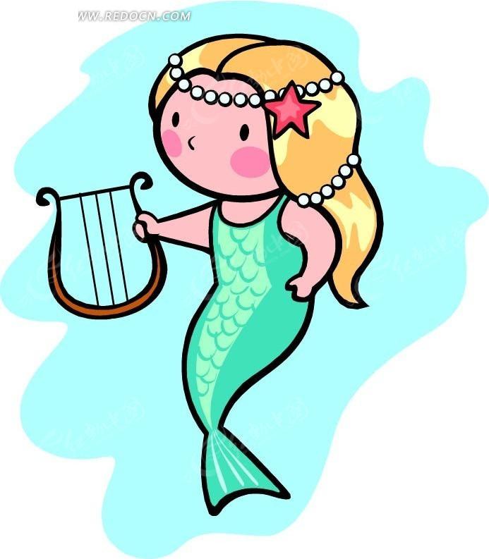 拿着琴的美人鱼卡通画