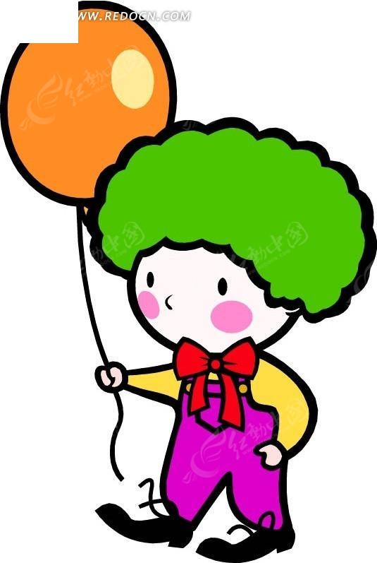 拿着气球的儿童卡通画cdr免费下载_卡通形象素材