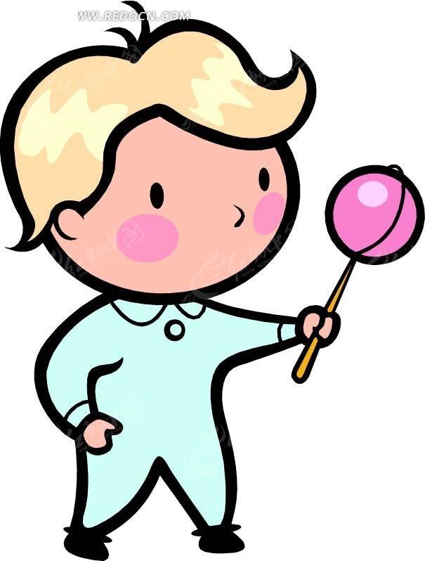 拿着玩具的儿童卡通画矢量图... img3.redocn.com 宽605x828 ...