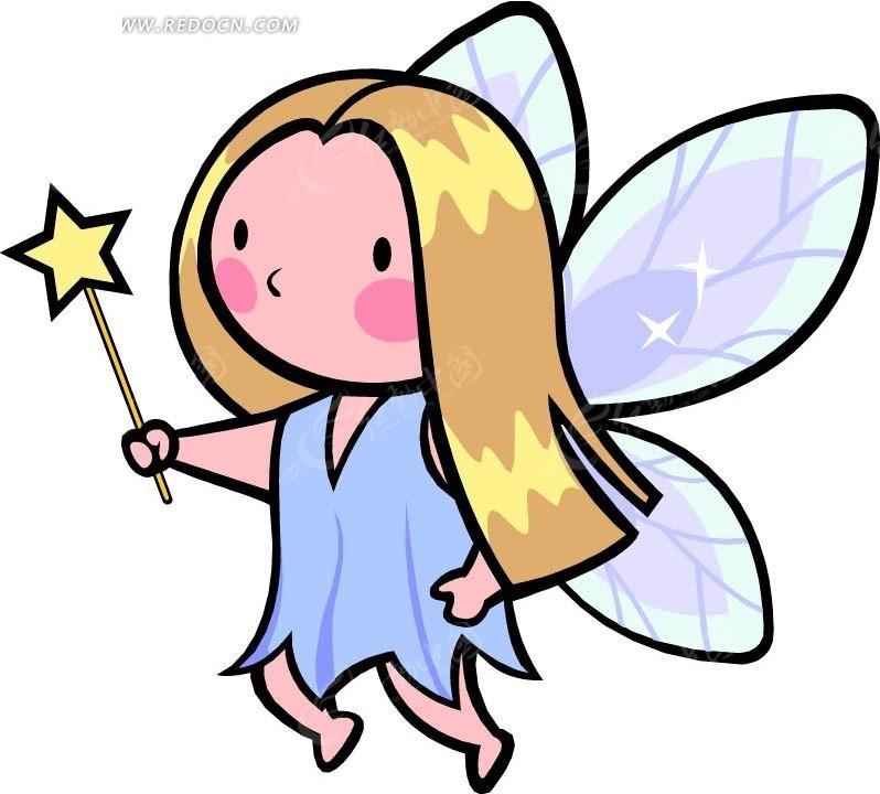 拿着仙女棒的精灵卡通画