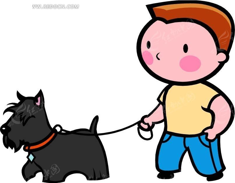 牵狗散步的男孩卡通画
