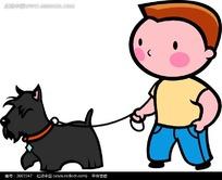 人行道 上牵着狗的男孩 卡通画 矢量图 卡通形象 高清图片