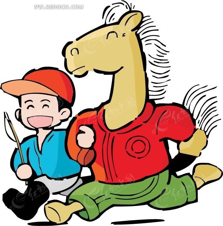 马的卡通画_人牵着马的卡通画 _网络排行榜