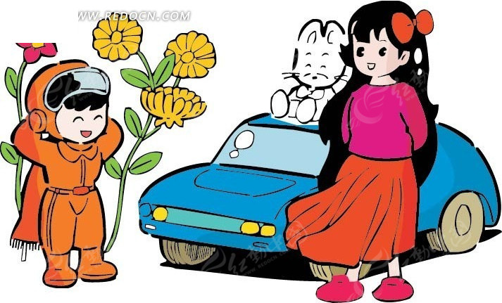 汽车前的全集和女孩卡通画矢量图拉丁男孩头发造型图片大女孩图片