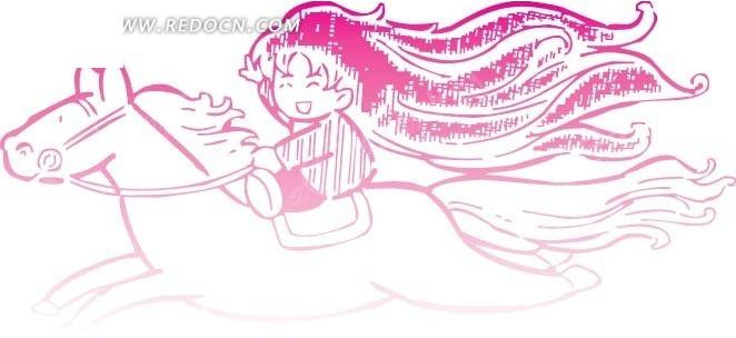 骑马奔驰的女孩卡通画