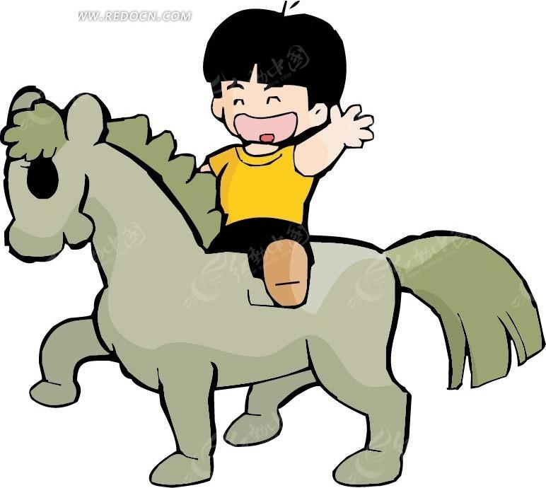 骑马的男孩卡通画