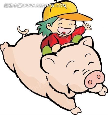 骑猪的男孩卡通画