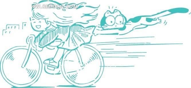 骑自行车的女人 骑自行车的男孩