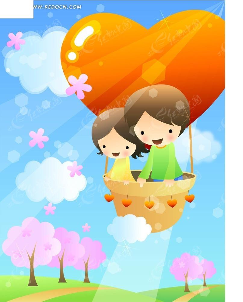 热气球上的儿童卡通画