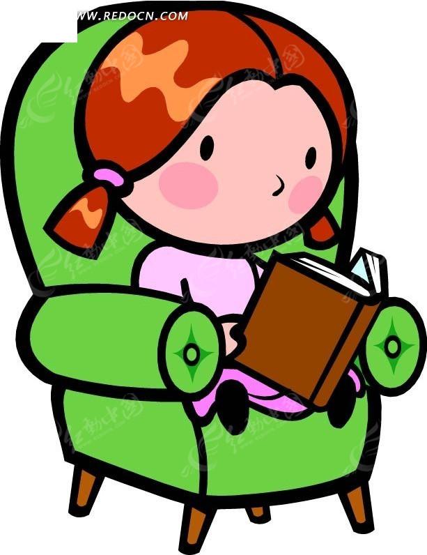 沙发上看书的女孩卡通画CDR素材免费下载 编号2601645 红动网图片