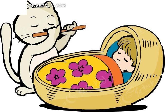 睡觉的女孩和吹笛子的猫卡通画
