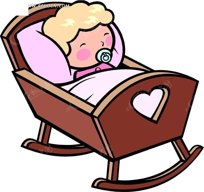 睡觉的婴儿卡通画