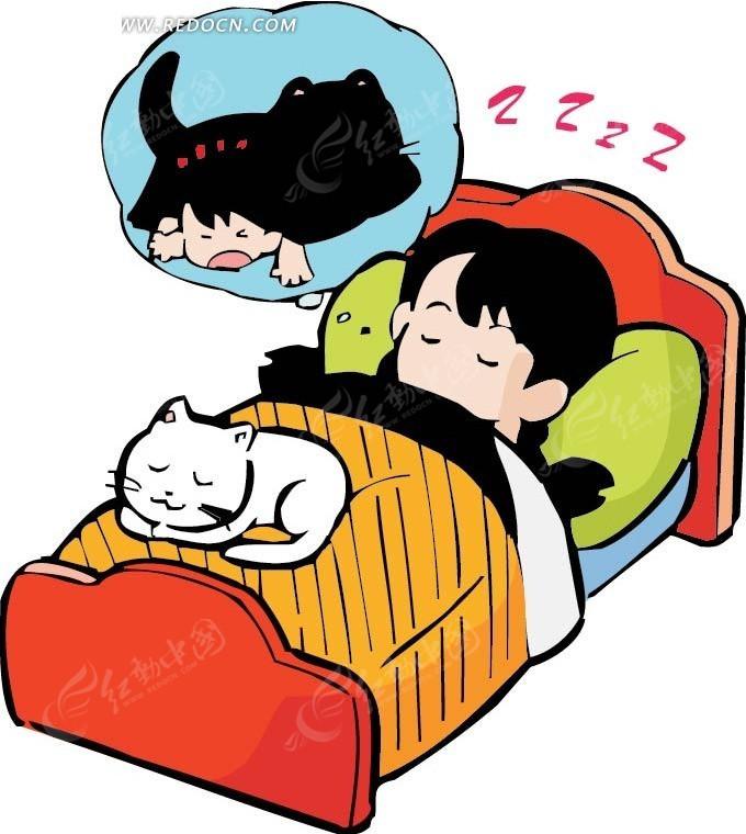 睡觉做梦的女孩卡通画