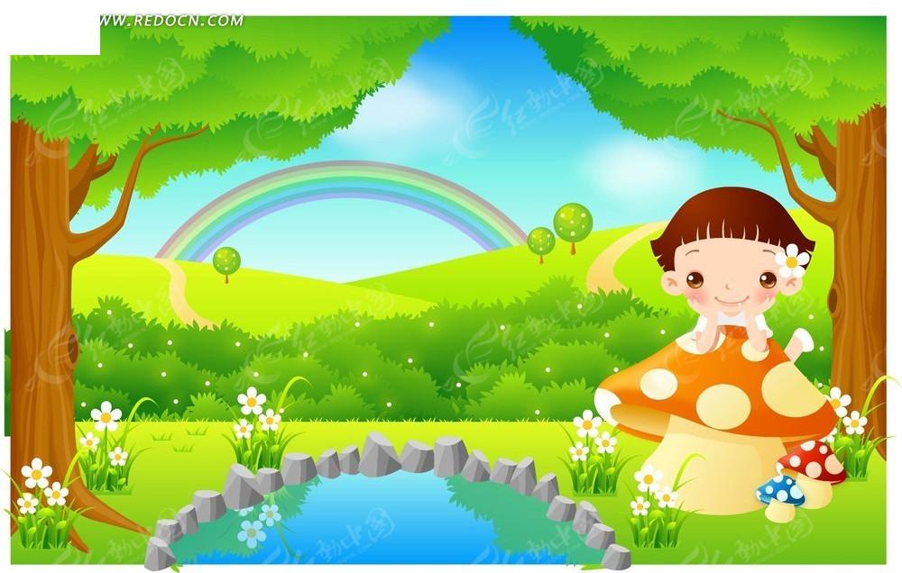 水塘边的小女孩卡通画