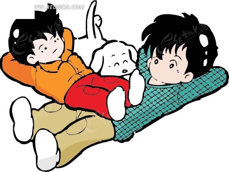 躺着的男孩 儿童 狗 动物