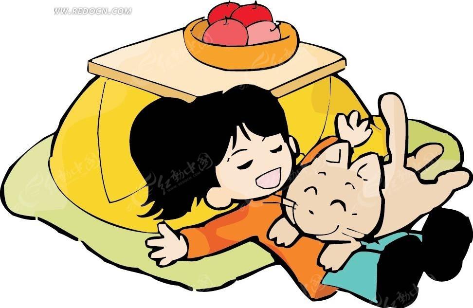 躺着睡觉的猫和女孩卡通画