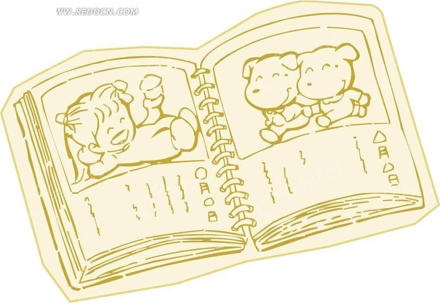 摊开的书本卡通画矢量图