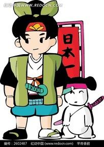 武士狗和日本武士卡通画