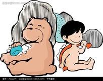 拿着刷子洗澡的男孩卡通画