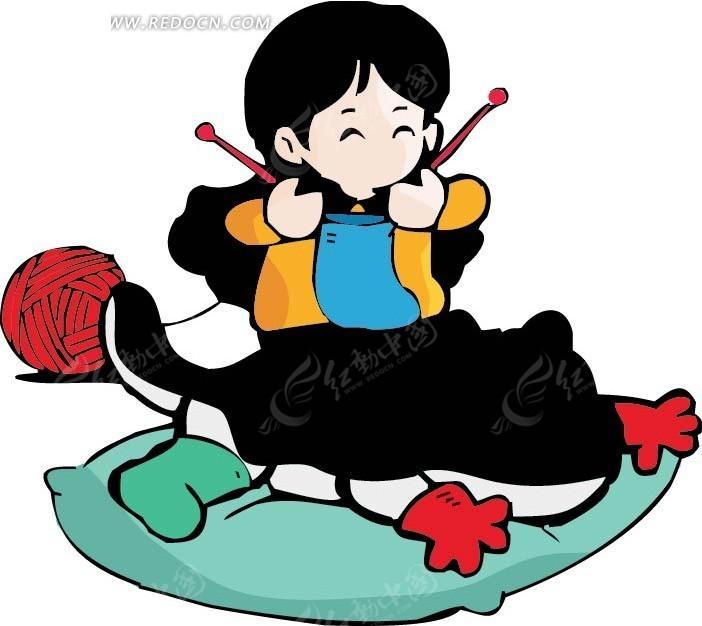 织毛衣的女孩卡通画